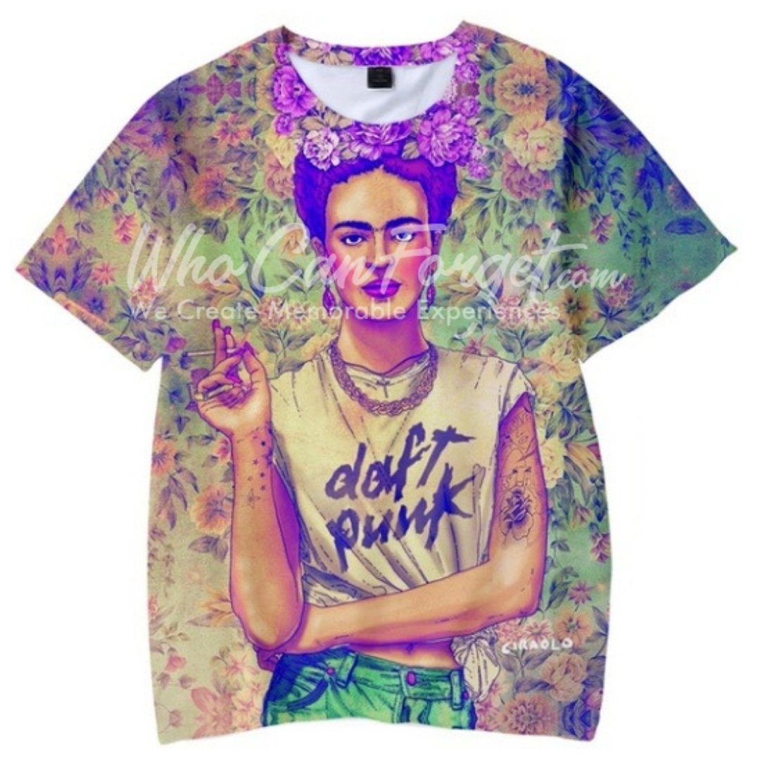 215b55c07 Frida Kahlo de Rivera Purple Pink t-shirt - Who can Forget